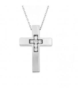 Φινετσάτος σταυρός με διαμάντια από λευκό χρυσό