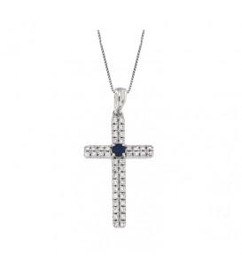 Φινετσάτος σταυρός με ζαφείρια από λευκό χρυσό