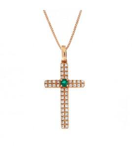 Φινετσάτος σταυρός με σμαράγδι από ροζ χρυσό