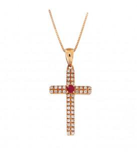 Φινετσάτος σταυρός με ρουμπίνι από ροζ χρυσό