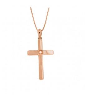 Φινετσάτος σταυρός με διαμάντι από ροζ χρυσό