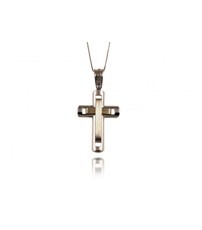 Σταυρός ανδρικός λευκόχρυσο και χρυσό - www.kosmima.info 22df10d6846