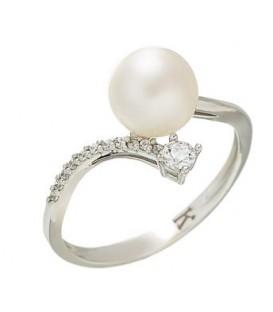 Δαχτυλίδι λευκόχρυσο με ζιργκόν και μαργαριτάρι