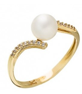 Ring gold with zircon and pearl
