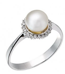 Ring whitegold with zircon and pearl