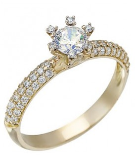 Ring gold with zircon