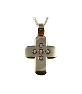 Cross for women gold with zircon