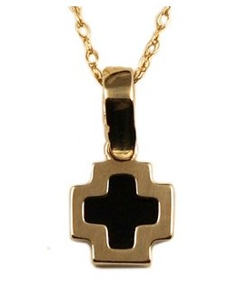 Cross for women gold with enamel