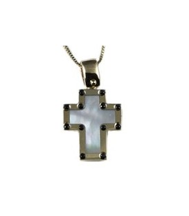 Cross for women gold with zircon and mother of pearl