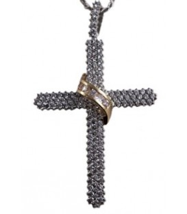 Cross for women whitegold and gold with zircon