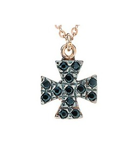 Cross for women red gold with zircon