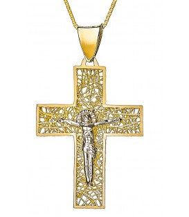 Cross for men whitegold and gold