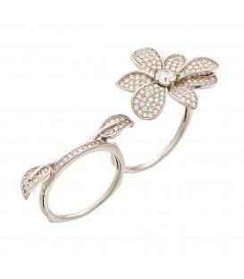 Δαχτυλίδι διπλό με λουλούδι ασημένιο