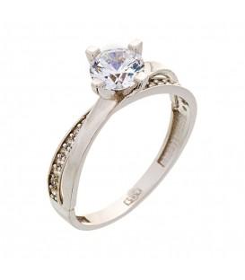 Ring whitegold with zircon