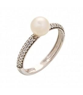 Δαχτυλίδι μισόβερο σειρέ με μαργαριτάρι