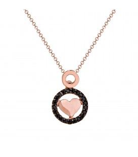 Κρεμαστό με κύκλο και Καρδιά ροζ Χρυσό