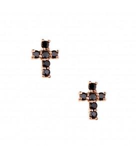 Σκουλαρίκια Σταυρός μικρός ροζ  χρυσά