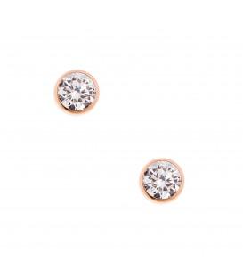 Σκουλαρίκια στρόγγυλα με ζιργκόν ροζ χρυσό
