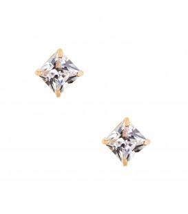 Σκουλαρίκια τετράγωνα με ζιργκόν  χρυσά