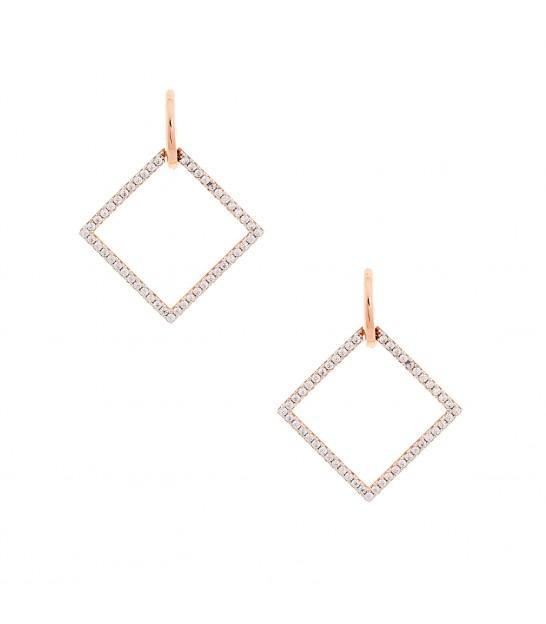 Σκουλαρίκια ρόμβος μεγάλα ροζ χρυσό 5e3a4b141fd