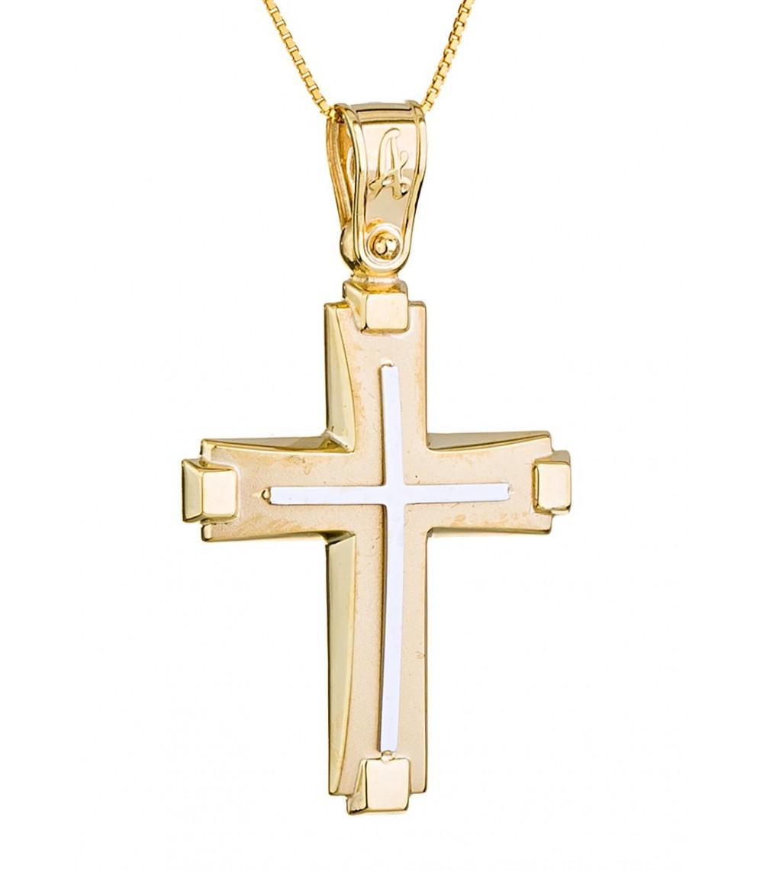 Ανδρικός βαπτιστικός σταυρός δίχρωμος - www.kosmima.info 05c4d72f43e