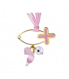 Καρφίτσα παιδική για κορίτσι με σταυρό και ματάκι από χρυσό