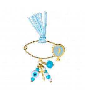 Καρφίτσα παιδική μπαλόνι για αγόρι με σταυρό και ματάκι από χρυσό