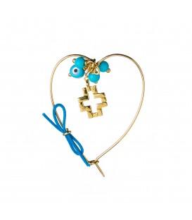 Καρφίτσα παιδική καρδούλα για αγόρι με σταυρό και ματάκι από χρυσό