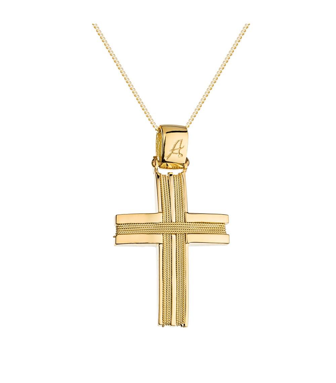 Χειροποίητος ανδρικός βαπτιστικός σταυρός χρυσός - www.kosmima.info f3cc58f6a72