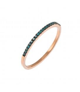 Μισόβερο ροζ χρυσό με μπλέ διαμάντια