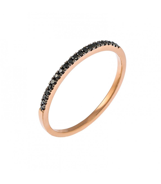 Μισόβερο ροζ χρυσό με μαύρα διαμάντια - www.kosmima.info caeabf6e8a0