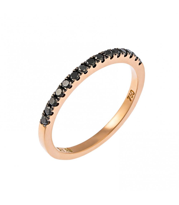 Μισόβερο μεγάλο ροζ χρυσό με μαύρα διαμάντια - www.kosmima.info 682e4e16f96