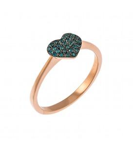 Μονόπετρο καρδιά ροζ χρυσό με μπλέ διαμάντια
