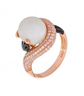 Δαχτυλίδι φλόγα με μαργαριτάρι από ροζ χρυσό