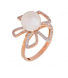 Δαχτυλίδι με μαργαριτάρι από ροζ χρυσό