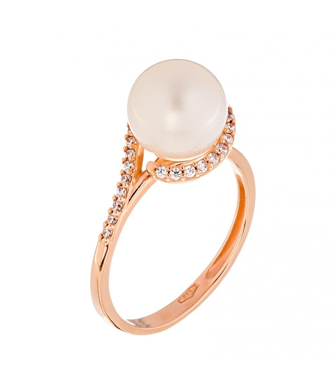 Δαχτυλίδι με μαργαριτάρι από ροζ χρυσό - www.kosmima.info df99bacca54