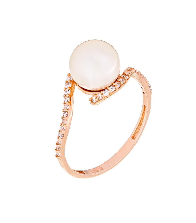 Δαχτυλίδι με μαργαριτάρι από ροζ χρυσό - www.kosmima.info 3d7d4798aa7
