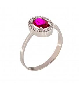 Δαχτυλίδι με Οβάλ Ροζέτα από λευκό χρυσό