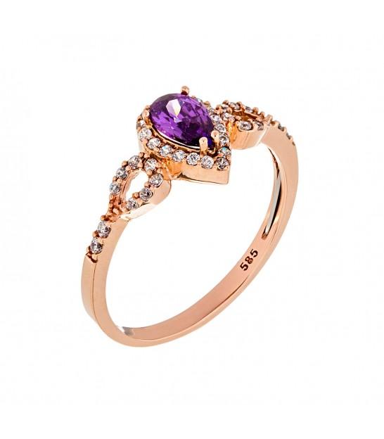 Δαχτυλίδι με Ροζέτα δάκρυ από ροζ χρυσό 9b536116671