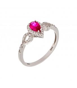 Δαχτυλίδι με Ροζέτα δάκρυ από λευκό χρυσό