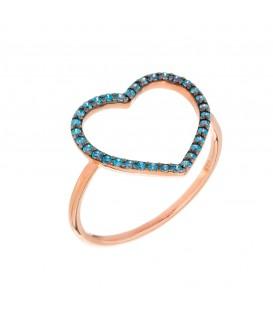 Δαχτυλίδι με καρδιά διάτρητη από ροζ χρυσό