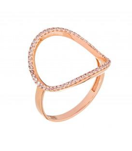 Δαχτυλίδι με μικρό οβάλ από ροζ χρυσό