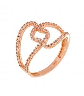 Δαχτυλίδι με καρδιές από ροζ χρυσό