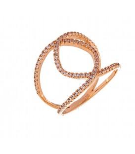 Δαχτυλίδι με δύο κύκλους από ροζ χρυσό