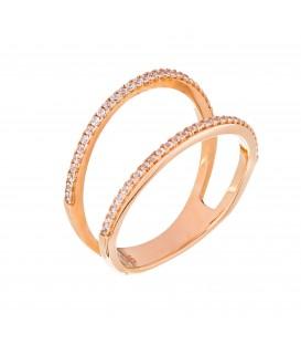 Δαχτυλίδι δύο γραμμές από ροζ χρυσό