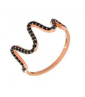 Δαχτυλίδι ζικ ζακ από ροζ χρυσό