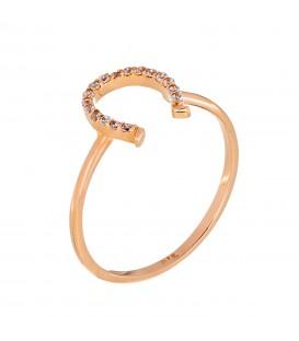 Δαχτυλίδι πέταλο από ροζ χρυσό
