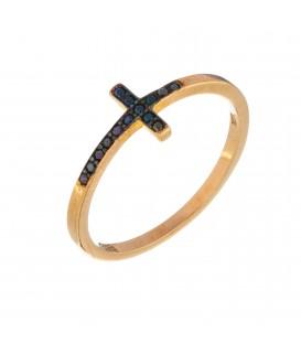Δαχτυλίδι παράλληλος σταυρός από χρυσό