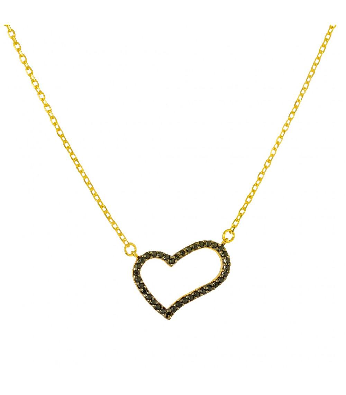 Κολιέ καρδούλα διάτριτη Χρυσό - www.kosmima.info 226677c3307