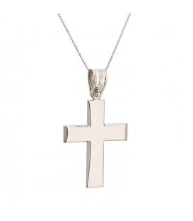 Ανδρικός κλασικός βαπτιστικός σταυρός από λευκό χρυσό